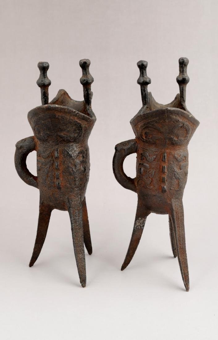 A PAIR OF METAL RITUAL WINE VESSELS,JUE-FORM. - 3
