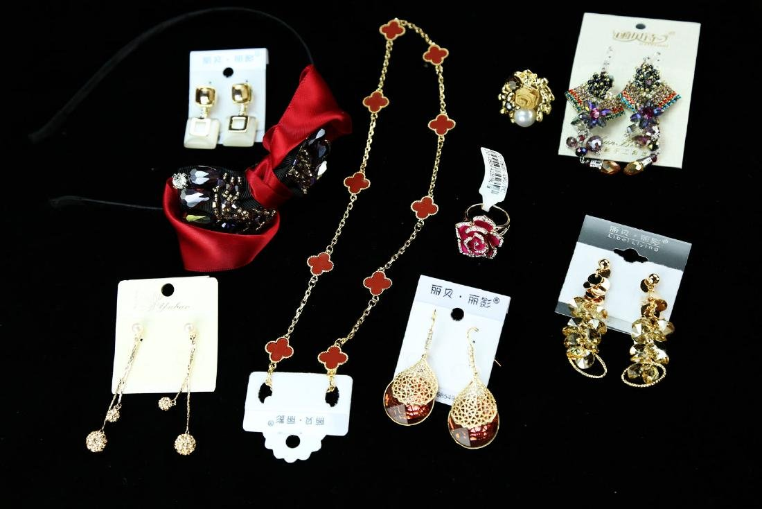 (14)  FINE CRYSTAL, METAL AND JEWELED JEWELRY --- A SET