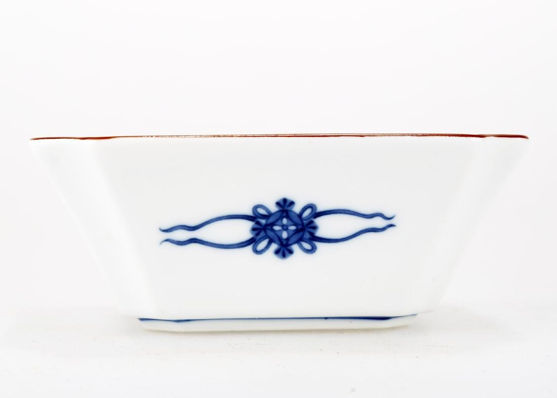 A JAPANESE BLUE AND WHITE PORCELAIN SQUARE PLATE.THE - 5