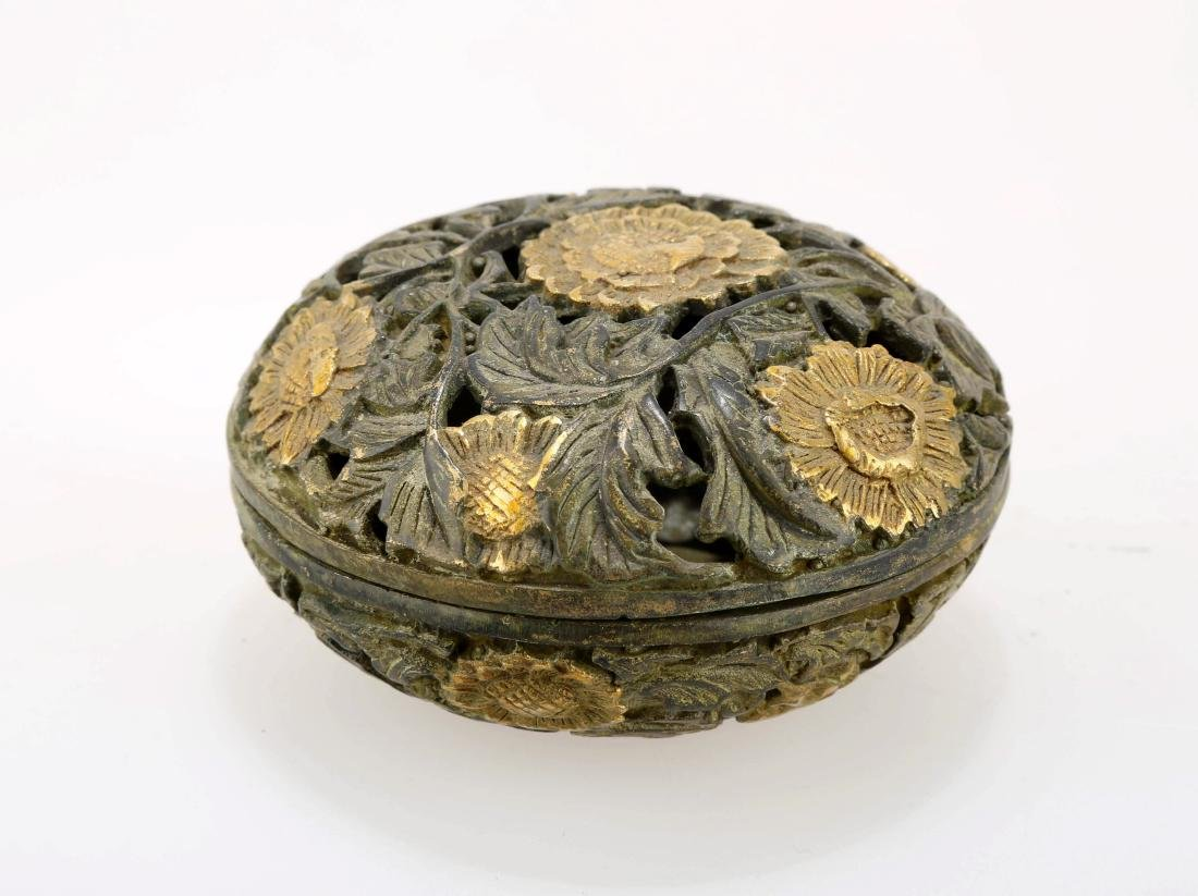 A GILT BRONZE CENSER. THE BASE CARVED WITH MING DYNASTY