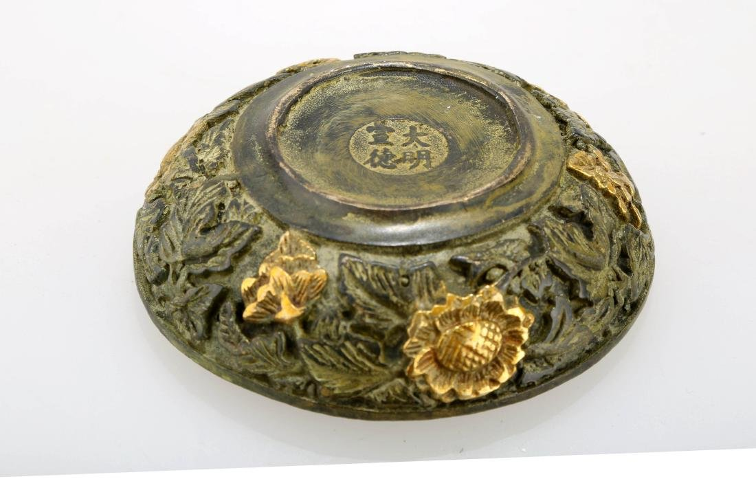A GILT BRONZE CENSER. THE BASE CARVED WITH MING DYNASTY - 6