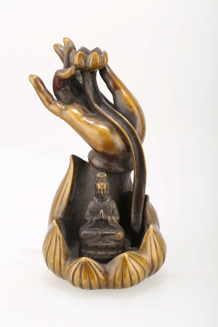 A BRONZE BUDDHA'S-HAND CENSER.J068.