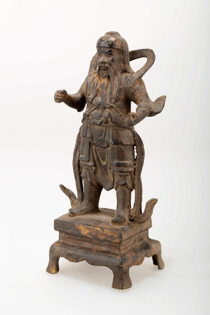 A GILT BRONZE TAOIST IMMORTAL STATUE.J070.