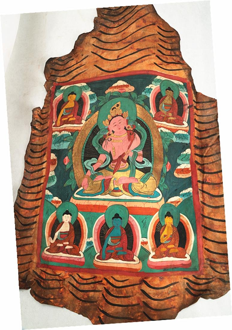 THE THANGKA.COLOR ON A ANIMAL'S SKIN SCROLL PAINTING OF