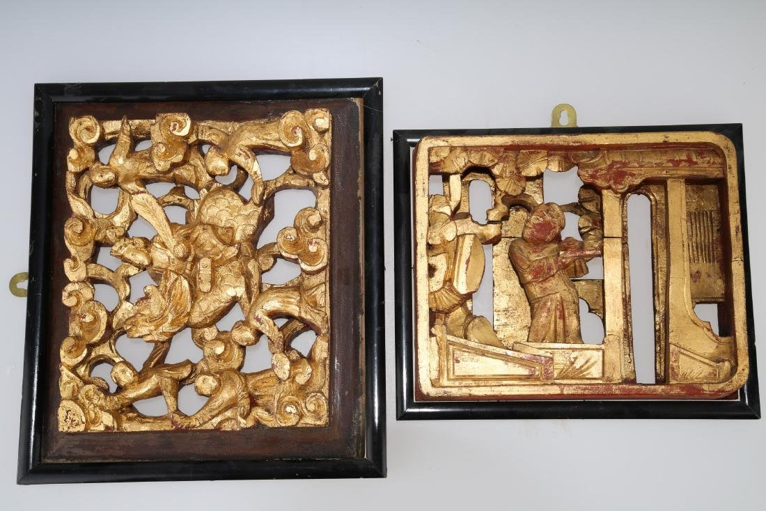 (2)   A PAIR OF CHINESE WOOD PLAQUES.M023. - 2