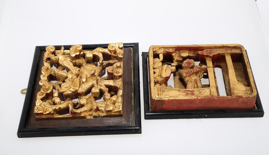 (2)   A PAIR OF CHINESE WOOD PLAQUES.M023. - 3