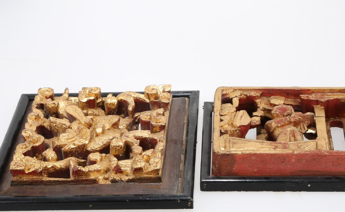 (2)   A PAIR OF CHINESE WOOD PLAQUES.M023. - 4