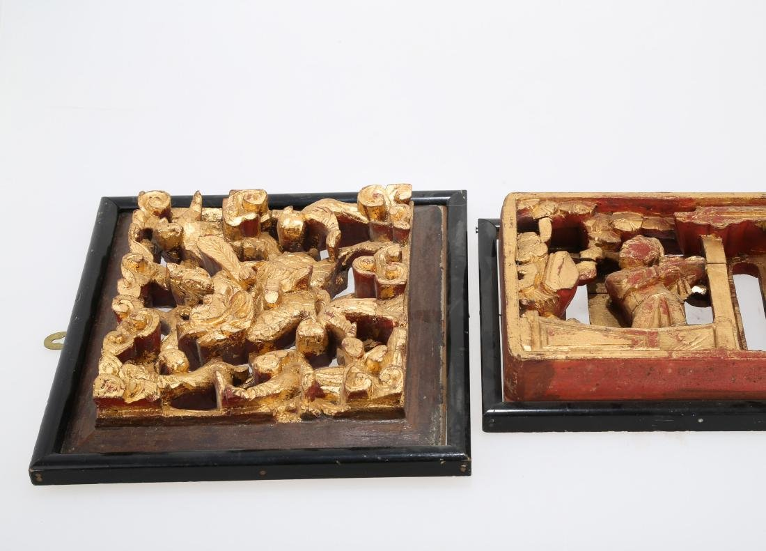 (2)   A PAIR OF CHINESE WOOD PLAQUES.M023. - 5