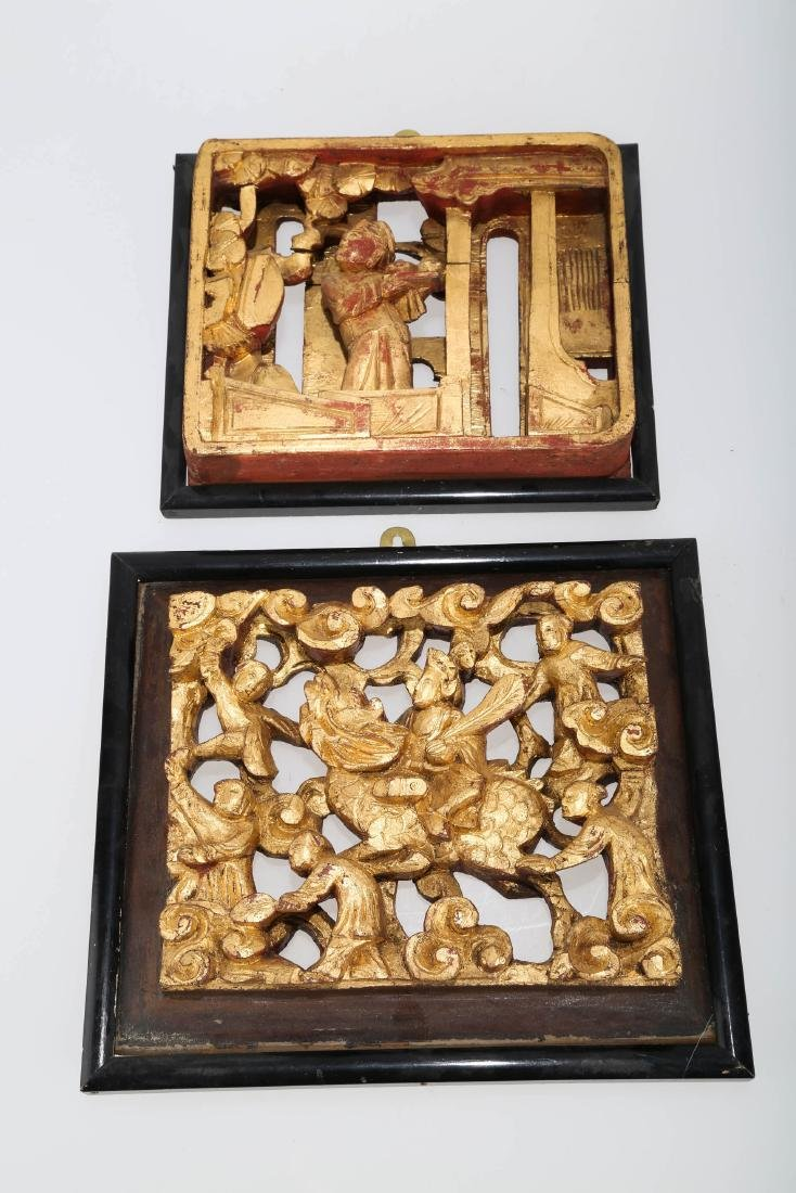 (2)   A PAIR OF CHINESE WOOD PLAQUES.M023. - 7
