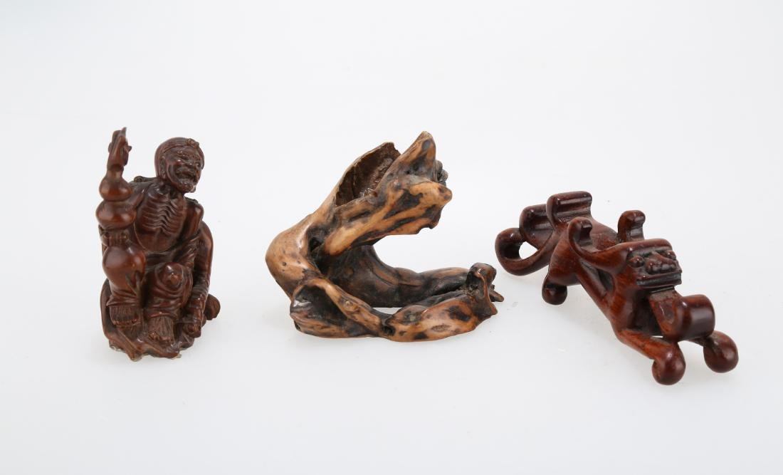 (3)  THREE PIECES CHINESE WOOD CARVINGS ON STAND.M024.