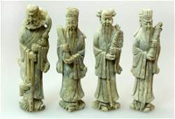4 SET OF FOUR FINELY STONE CARVED WITH FOUR