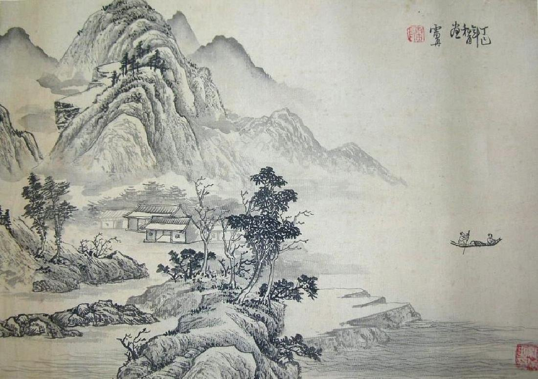 SIGNED LEI DAN.A QING DYNASTY INK AND COLOR ON PAPER