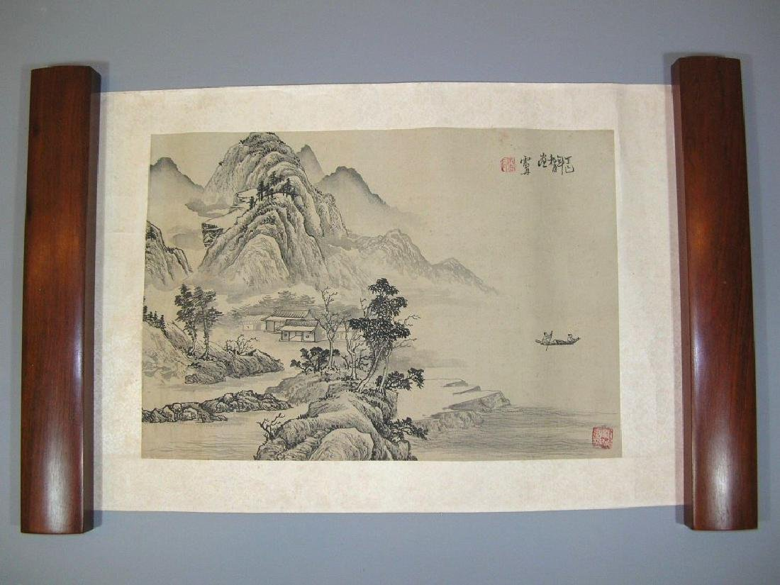 SIGNED LEI DAN.A QING DYNASTY INK AND COLOR ON PAPER - 2