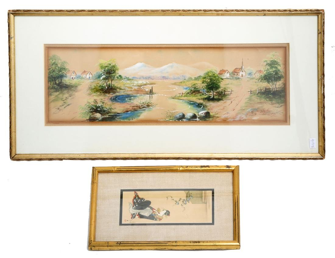 (3)  A PAIR OLD JAPANESE PAINTINGS. FRAMED.H240.