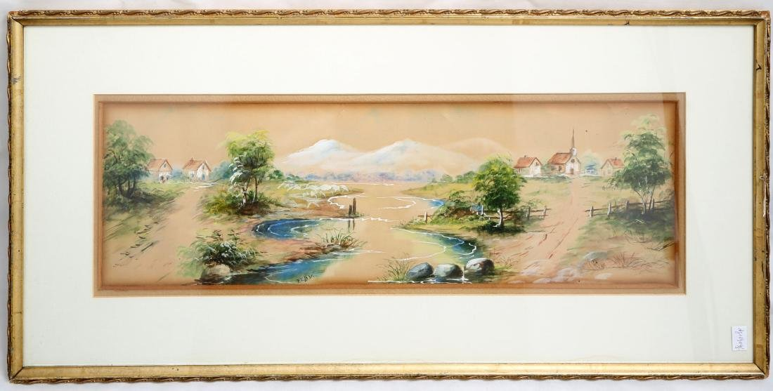(3)  A PAIR OLD JAPANESE PAINTINGS. FRAMED.H240. - 2