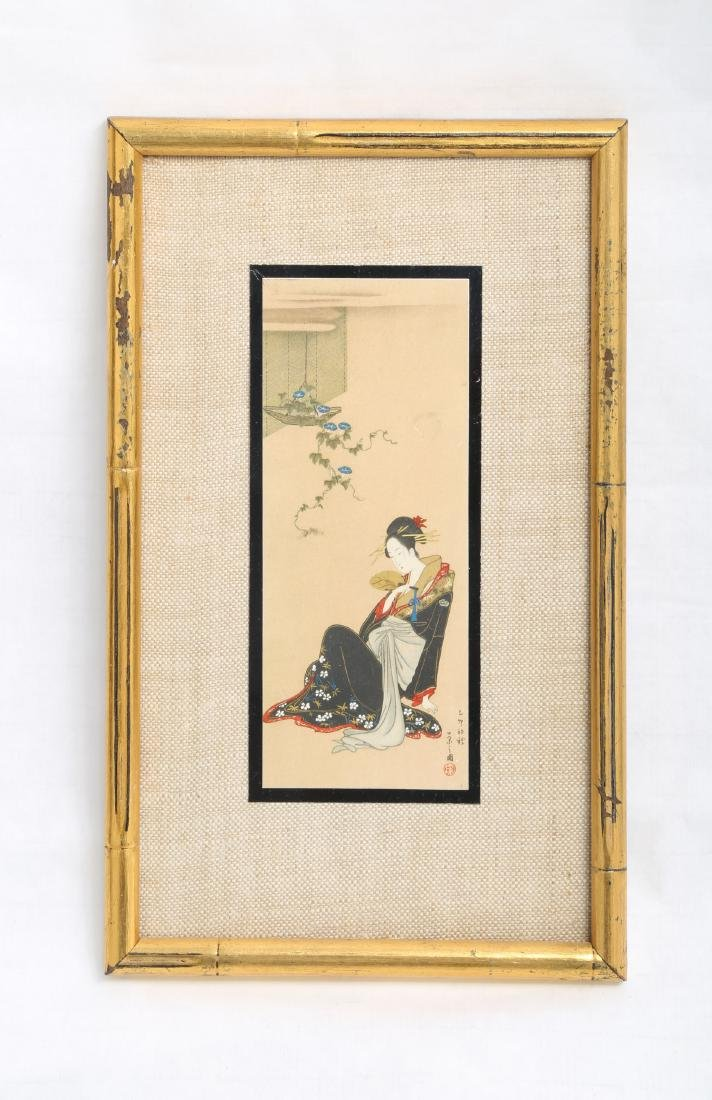 (3)  A PAIR OLD JAPANESE PAINTINGS. FRAMED.H240. - 3