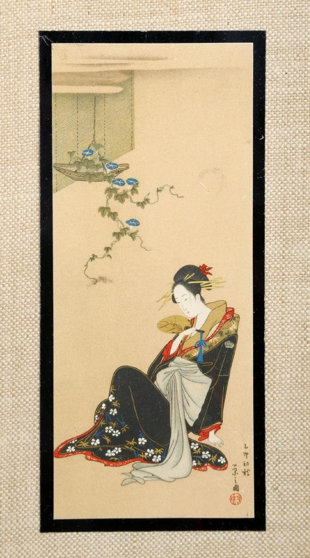 (3)  A PAIR OLD JAPANESE PAINTINGS. FRAMED.H240. - 4