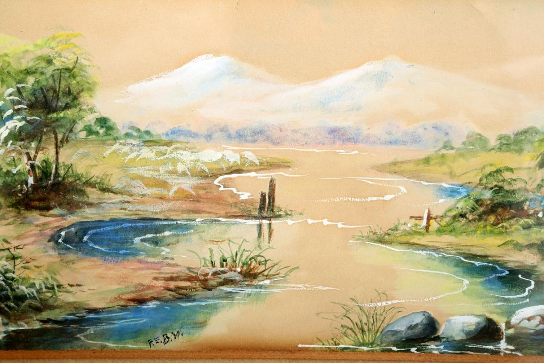 (3)  A PAIR OLD JAPANESE PAINTINGS. FRAMED.H240. - 8