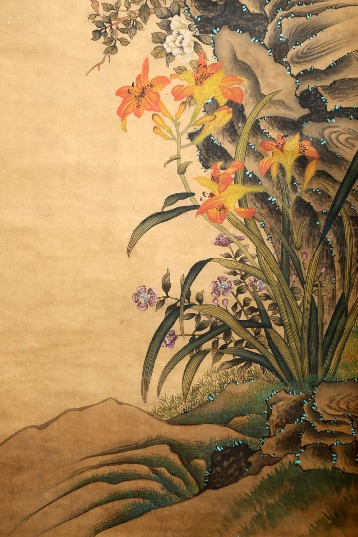 A CHINESE INK AND COLOR SCROLL ON SILK H245 - 5
