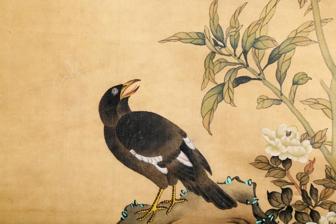 A CHINESE INK AND COLOR SCROLL ON SILK H245 - 8