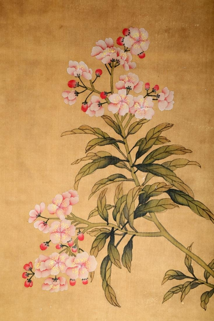 A CHINESE INK AND COLOR SCROLL ON SILK H245 - 9