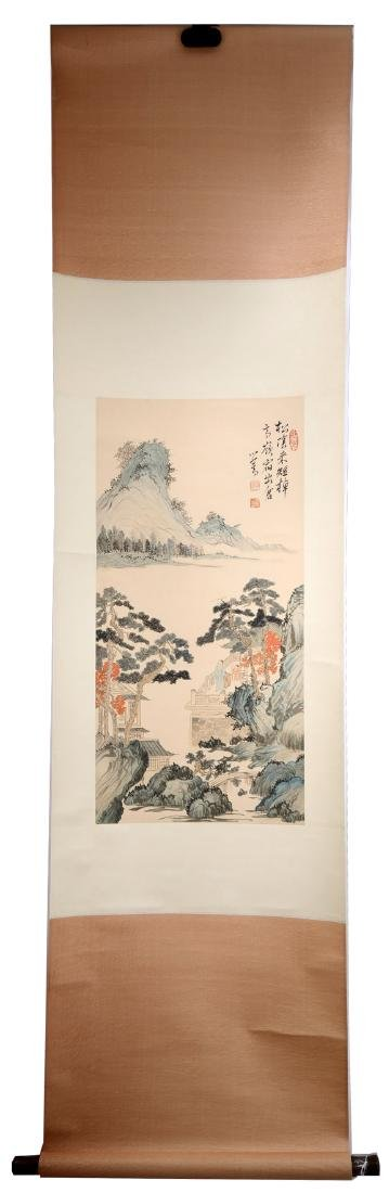 A INK AND COLOR ON PAPER HANGING SCROLL. H248.
