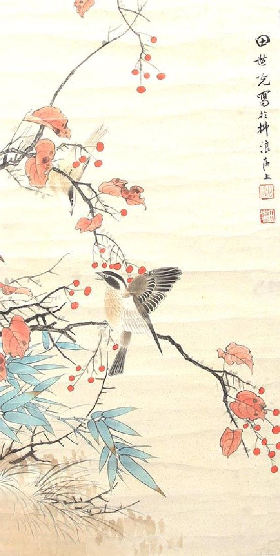 A INK AND COLOR ON PAPER HANGING SCROLL. H249.