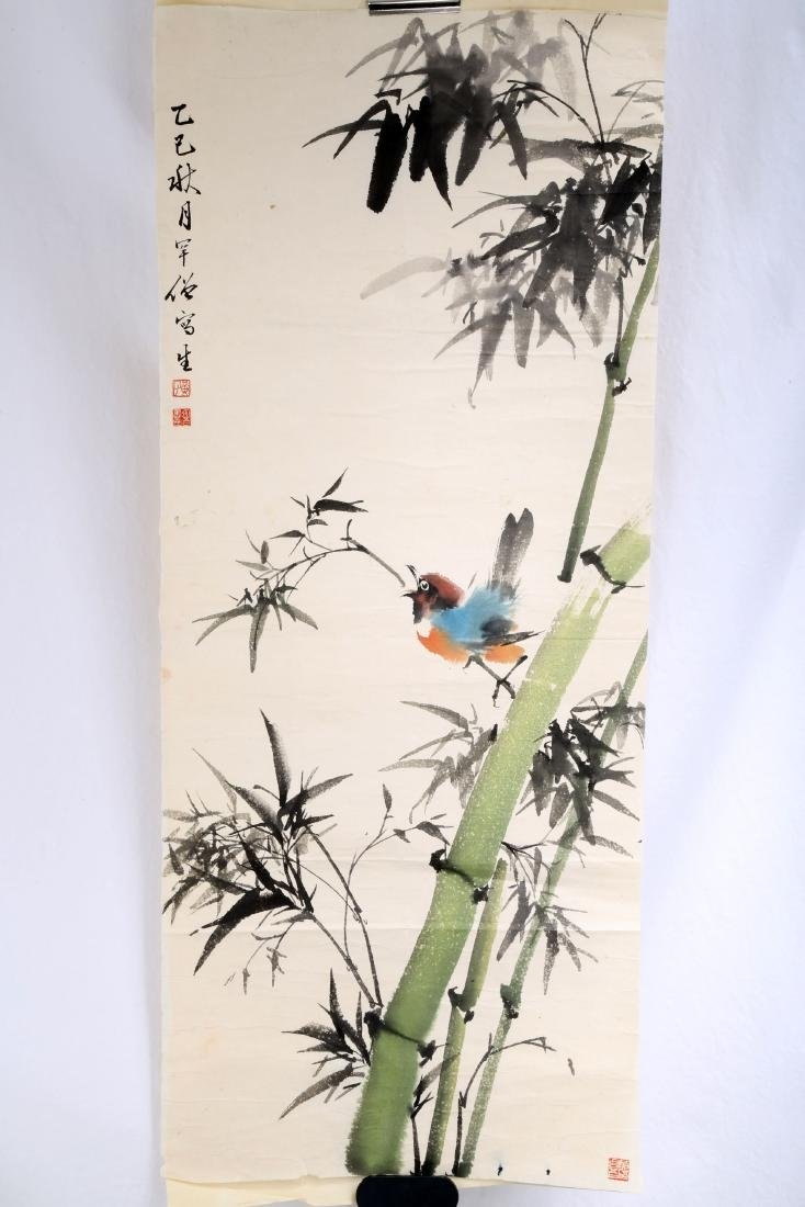 SIGNED HUANG HUANWU (1906-1985). A INK AND COLOR ON