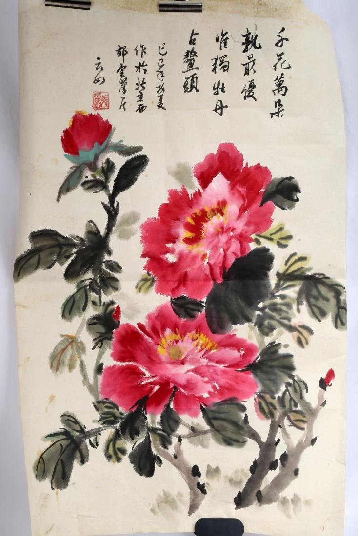 SIGNED ZHANG YUNRU. A INK AND COLOR ON PAPER HANGING