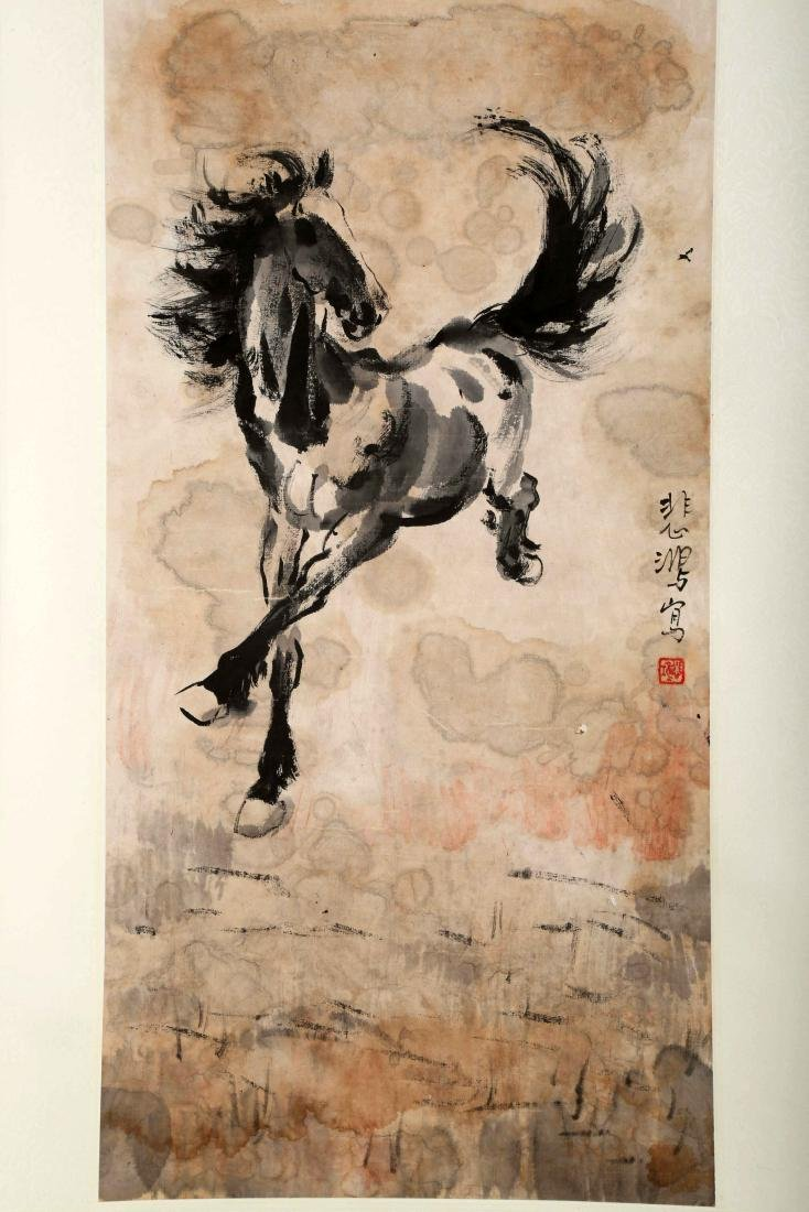 SIGNED XUE BEIHONG (1895-1953). A INK AND COLOR ON