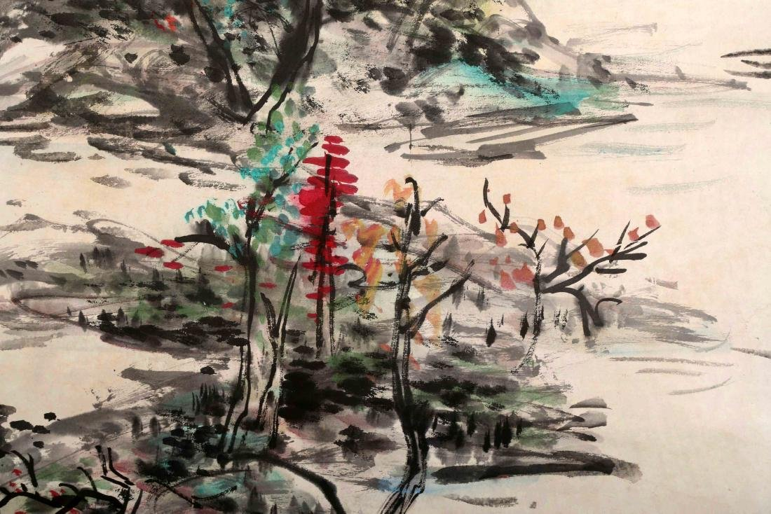 SIGNED HUANG BINHONG (1865-1955). A INK AND COLOR ON - 4