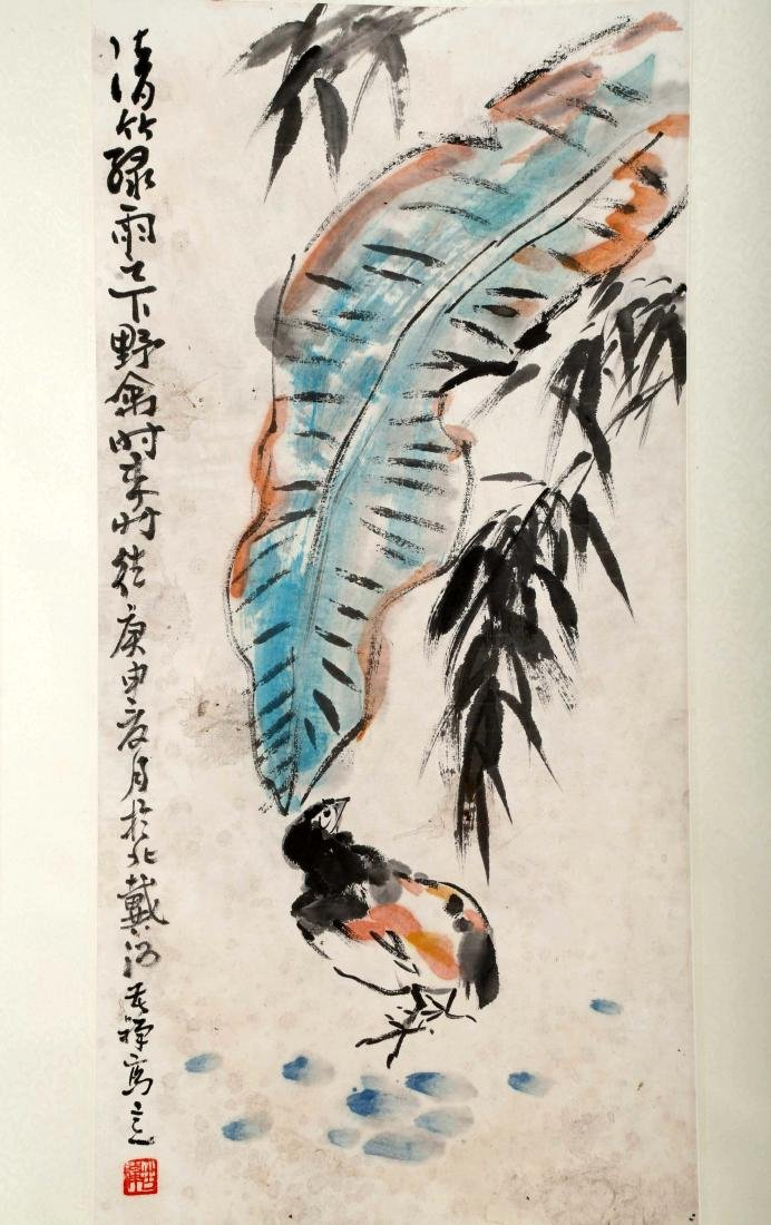 SIGNED LI KUCHAN (1899-1983). A INK AND COLOR ON PAPER