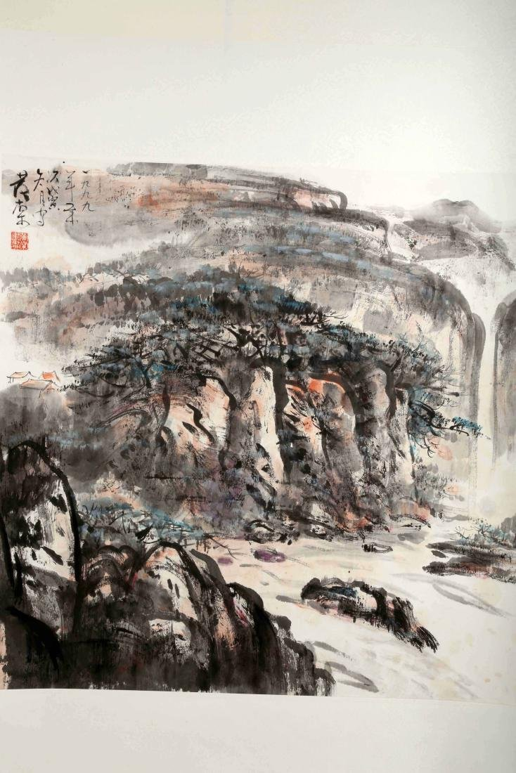 SIGNED HUANG TANG (1937- ). A INK AND COLOR ON PAPER