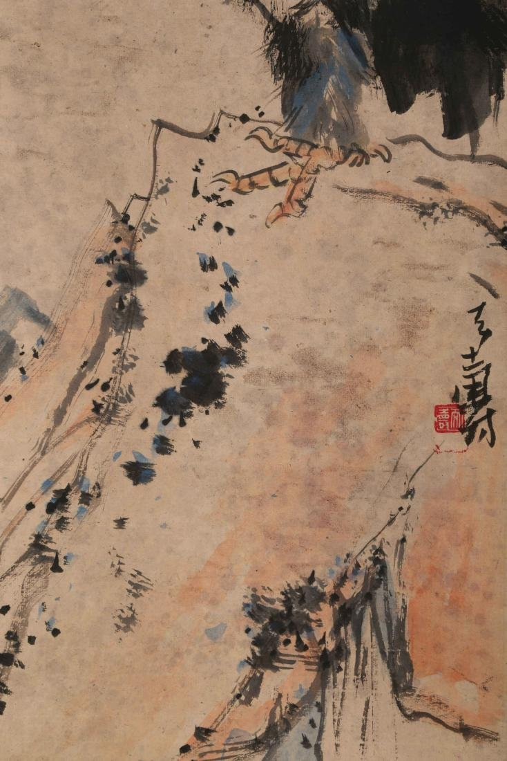 SIGNED PAN TIANSHOU (1897-1971). A INK AND COLOR ON - 4