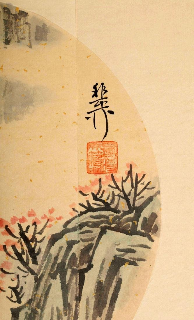SIGNED XIE YALIU. A INK AND COLOR ON PAPER CALLIGRAPHY - 8