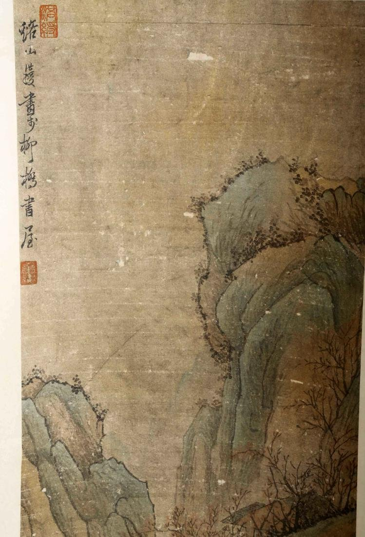 SIGNED CHEN HONGSHOU. A INK AND COLOR ON PAPER HANGING - 2