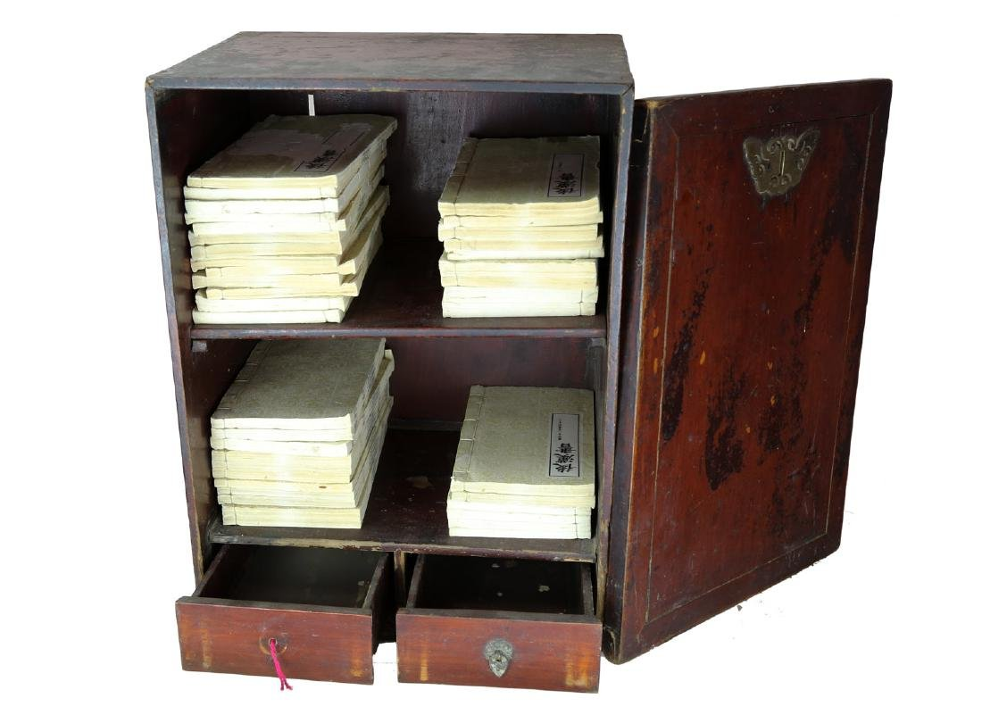 CHINESE 19 TH CENTURY WOODEN BOOK BOX AND A SET OF - 2
