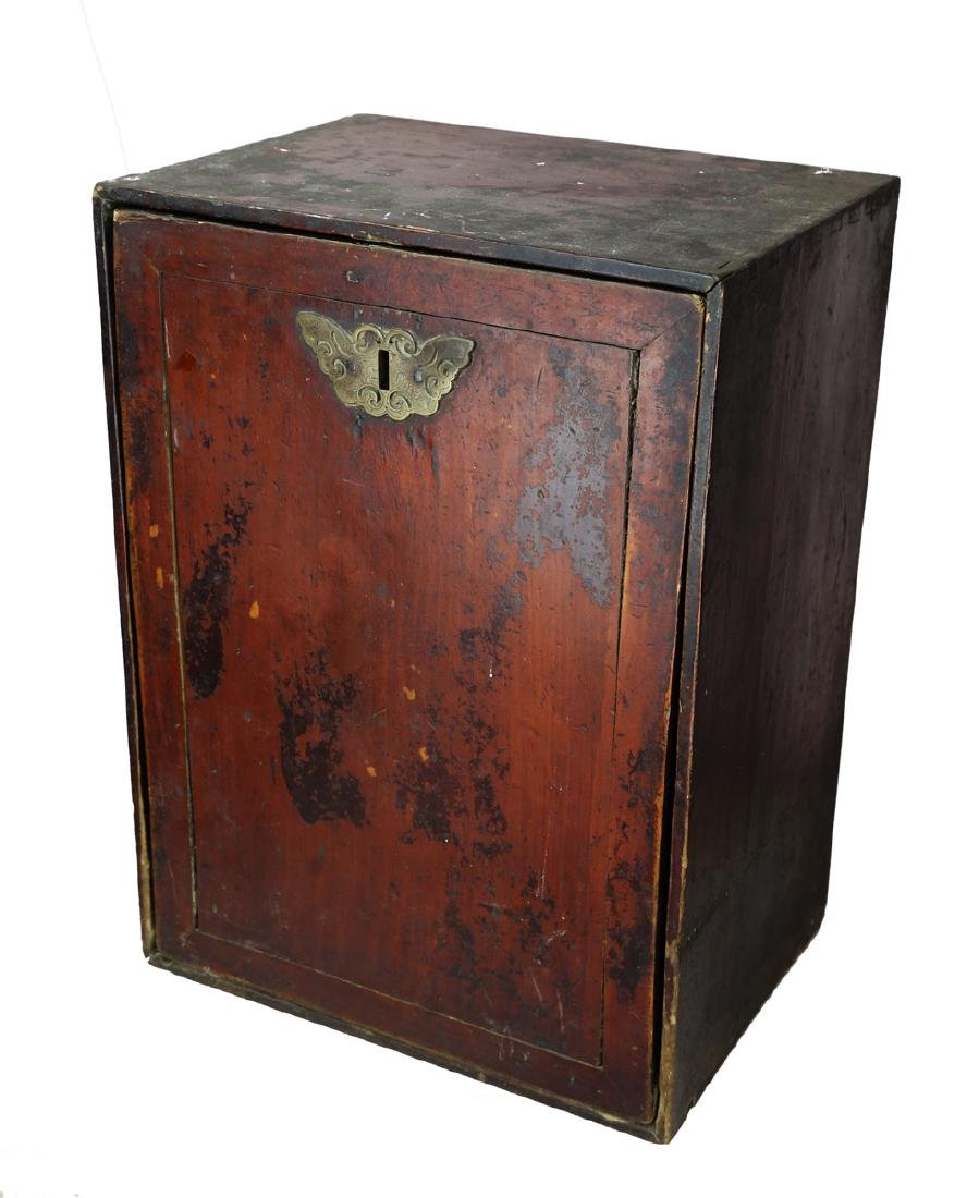CHINESE 19 TH CENTURY WOODEN BOOK BOX AND A SET OF - 3