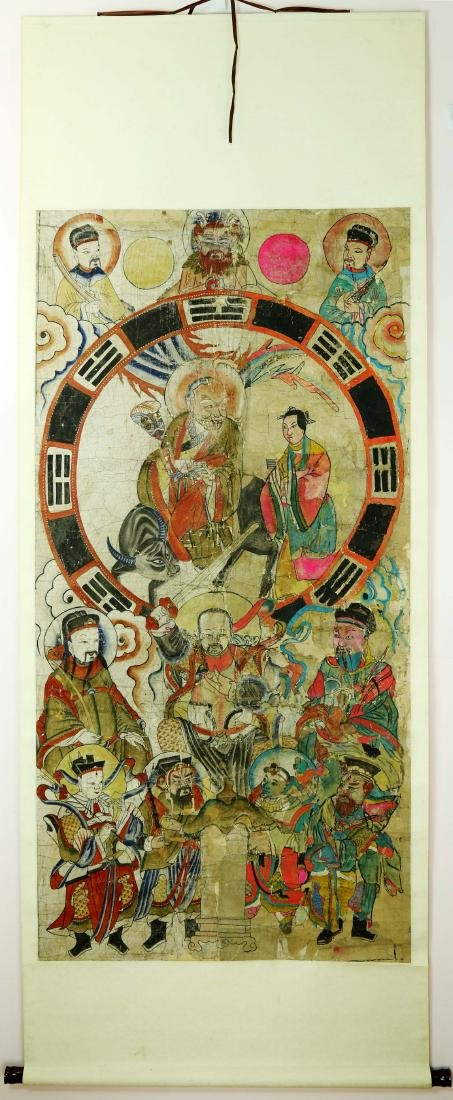 CHINESE TAOIST PAINTING DEPICTING TAOIST EIGHT DIAGRAMS