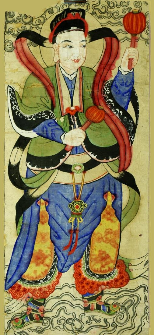 CHINESE TAOIST PAINTING DEPICTING A TAOIST IMMORTAL.