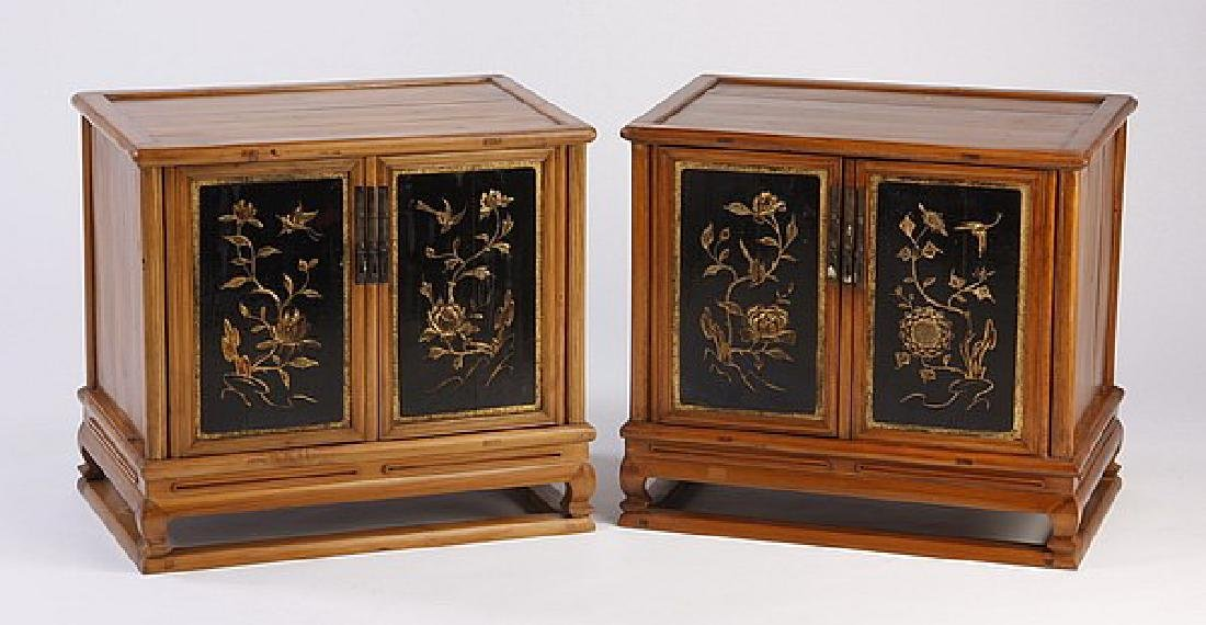 (2)  PETITE MID 20TH C. CHINESE GILT FLOWER DECORATION
