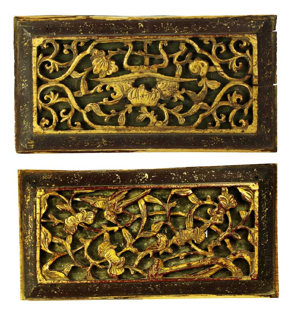 (3)  A SET OF THREE CHINESE WOOD PANELS - 2