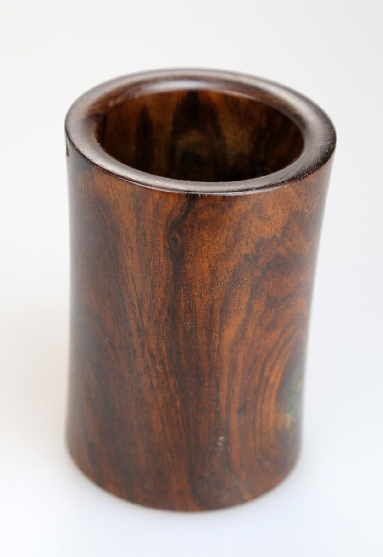 CHINESE HUANGHUALI AND HARDWOOD BRUSH POT,