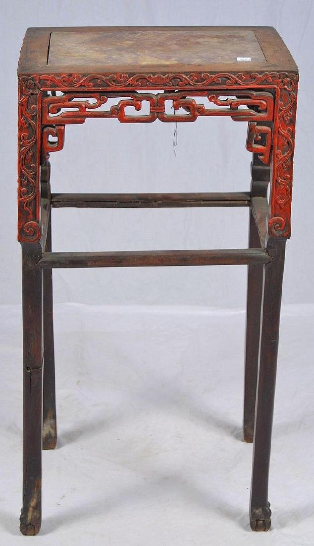 CHINESE CARVED MARBLE TOP SIDE TABLE