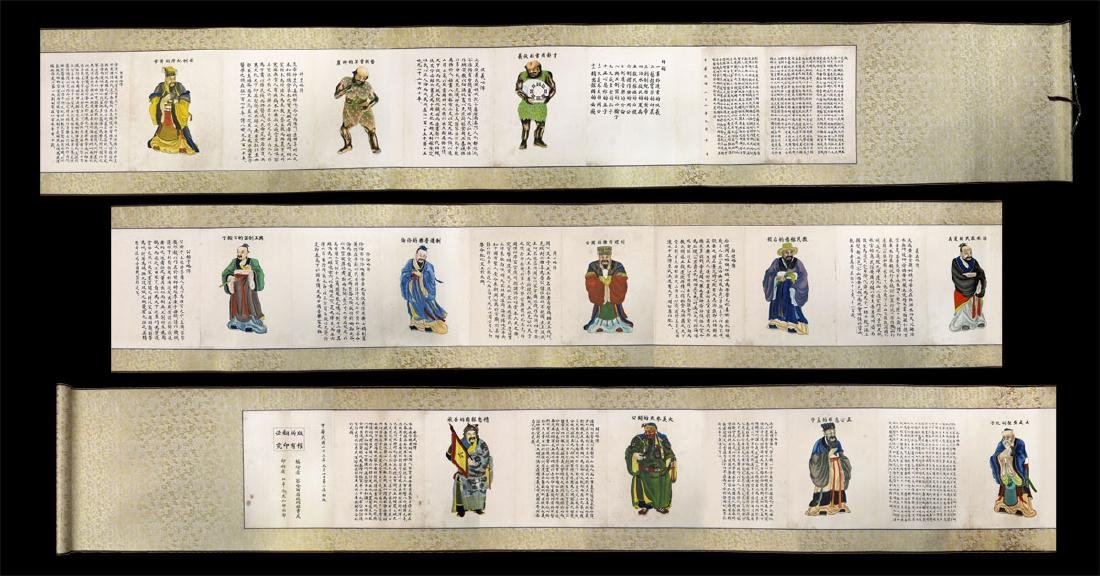 CHINESE INK AND COLOR ON PAPER HANGING SCROLL,