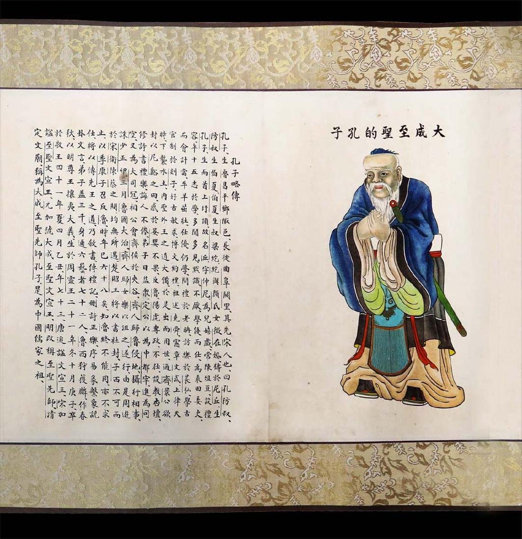 CHINESE INK AND COLOR ON PAPER HANGING SCROLL, - 5