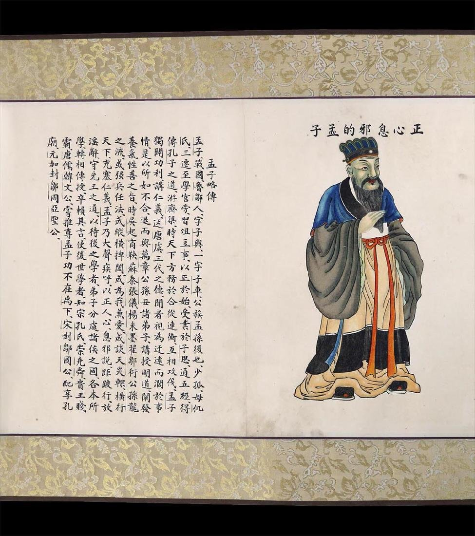 CHINESE INK AND COLOR ON PAPER HANGING SCROLL, - 6