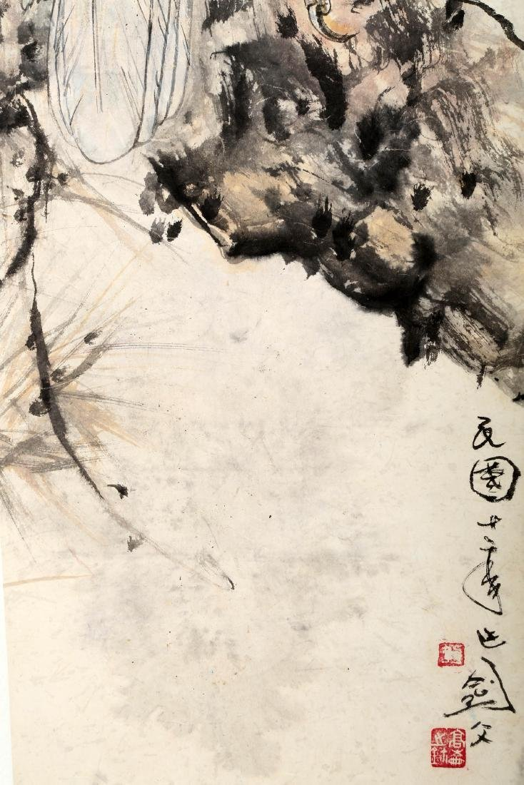 SIGNED GAO JIANFU (1879-1951). A INK AND COLOR ON PAPER - 9