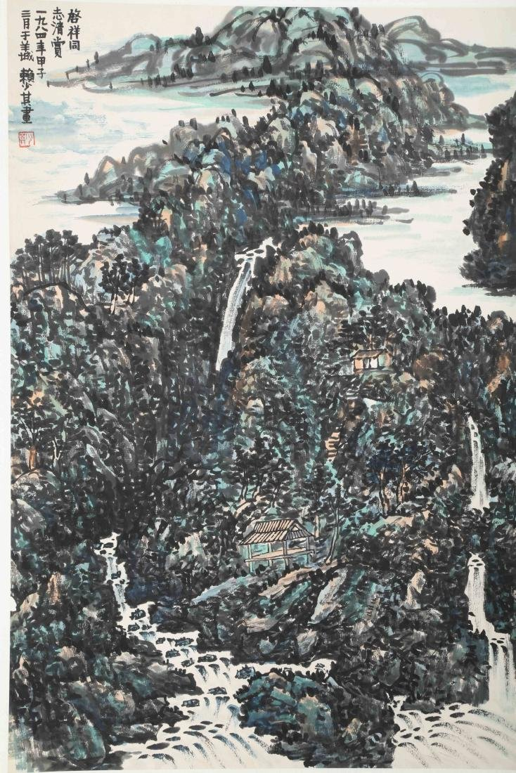 SIGNED LAI SHAOQI (1911-2000). A INK AND COLOR ON PAPER - 2
