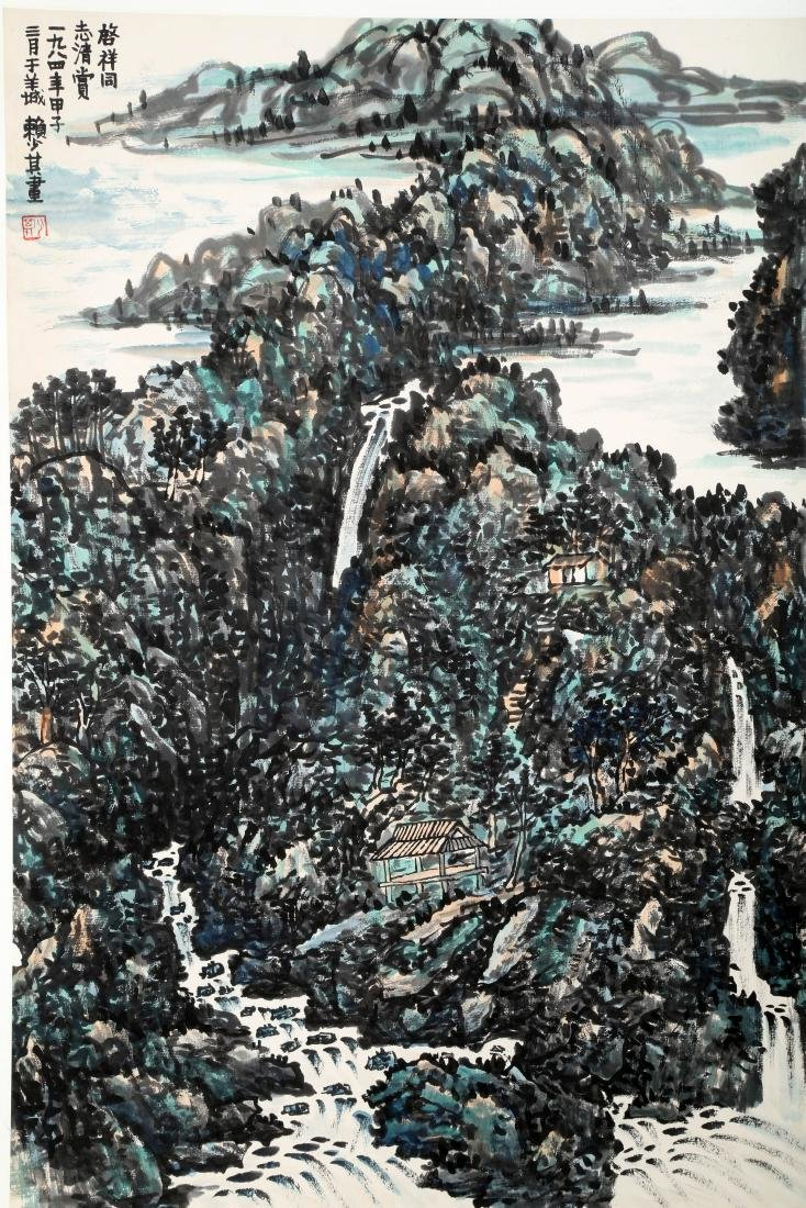 SIGNED LAI SHAOQI (1911-2000). A INK AND COLOR ON PAPER - 3